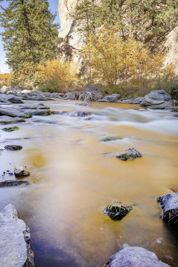 Rocky mountian flowing stream water stock image