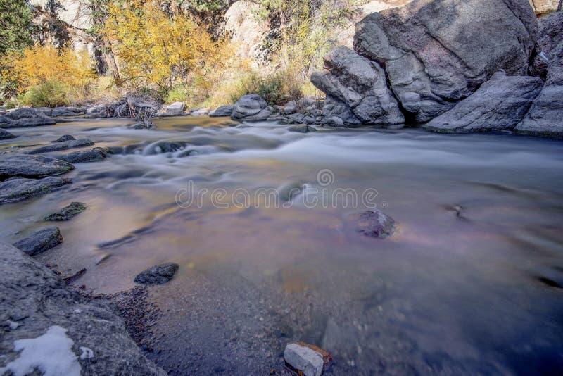 Rocky mountian flowing stream water stock photo
