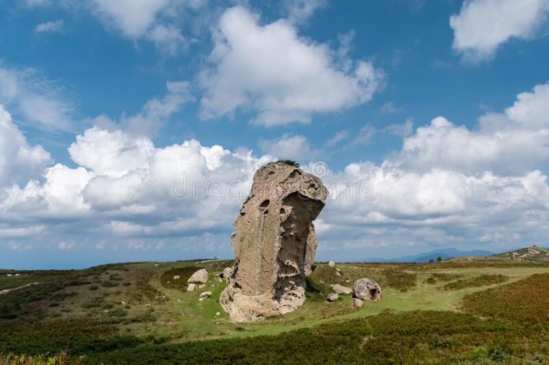 Rocky natural megalith in the Argimusco plateau, in northern Sicily Italy stock photo