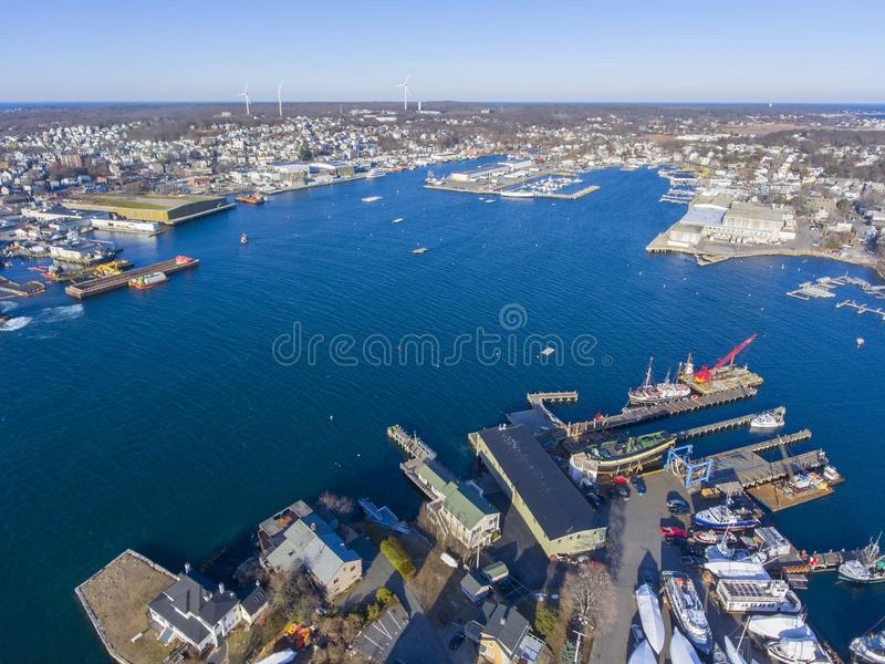 Rocky Neck in Gloucester, Cape Ann, MA, USA. Aerial view of Rocky Neck and Gloucester Harbor in City of Gloucester, Cape Ann, Massachusetts, USA stock image