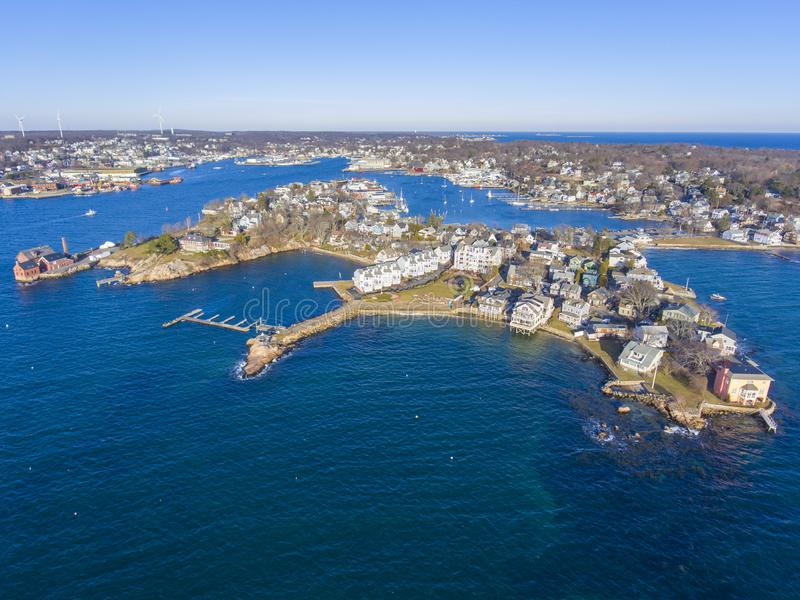 Rocky Neck in Gloucester, Cape Ann, MA, USA. Aerial view of Rocky Neck and Gloucester Harbor in City of Gloucester, Cape Ann, Massachusetts, USA stock photo