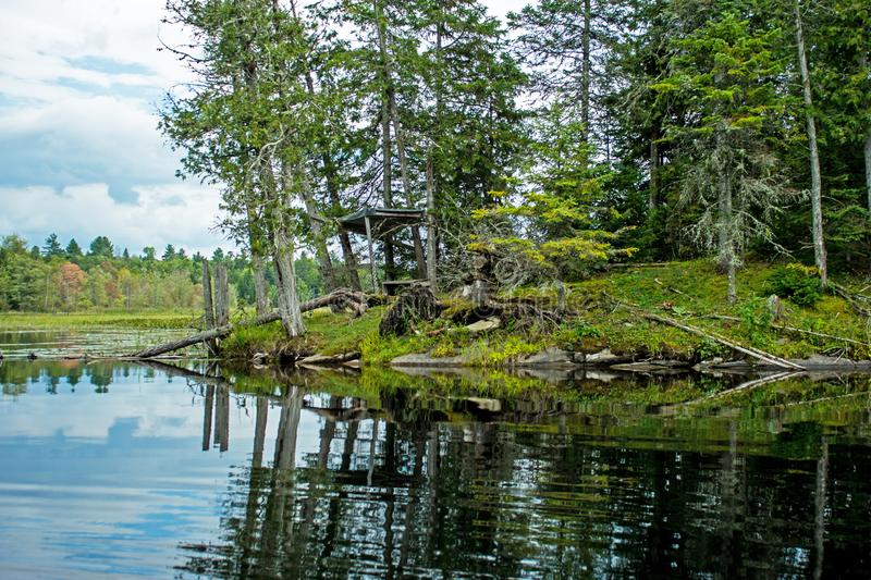 Rocky Outcrop And Abandoned Duck Blind royalty free stock image