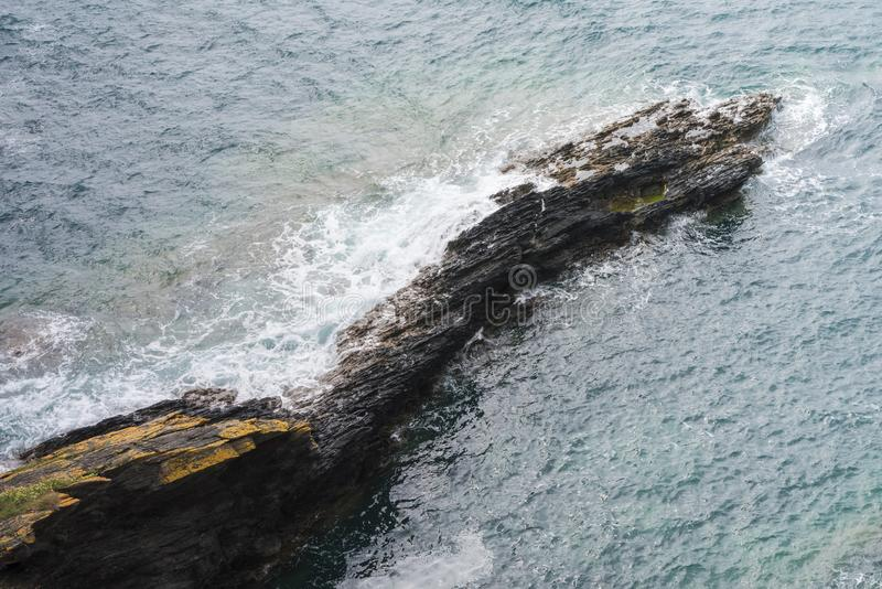 Rocky Outcrop on the Cornish Coast royalty free stock images
