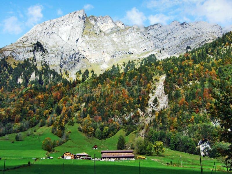 Rocky peak Ochsenchopf in the Glarus Alps Mountain Range and above Lake Klontalersee. Canton of Glarus, Switzerland stock image
