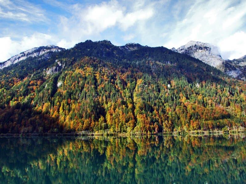 Rocky peak Twiren in the Glarus Alps mountain range and above Lake Klontalersee. Canton of Glarus, Switzerland stock image