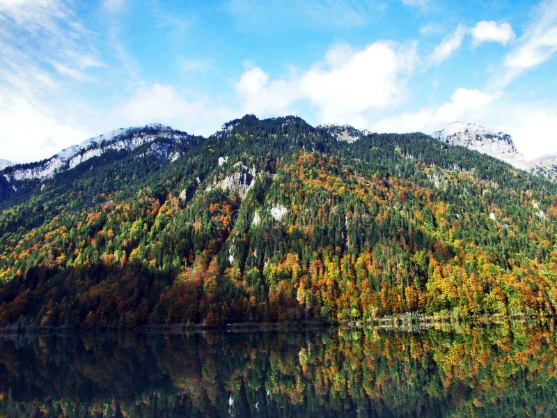 Rocky peak Twiren in the Glarus Alps mountain range and above Lake Klontalersee. Canton of Glarus, Switzerland stock images