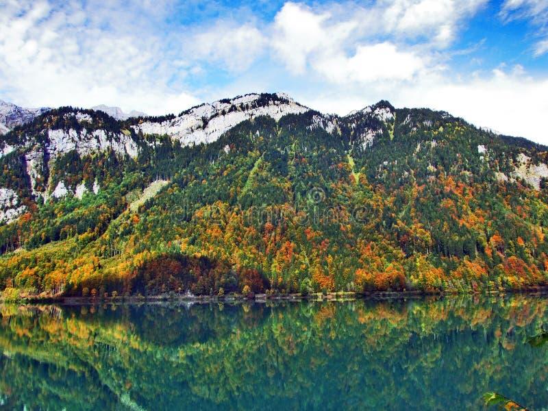 Rocky peak Twiren in the Glarus Alps mountain range and above Lake Klontalersee. Canton of Glarus, Switzerland royalty free stock photos