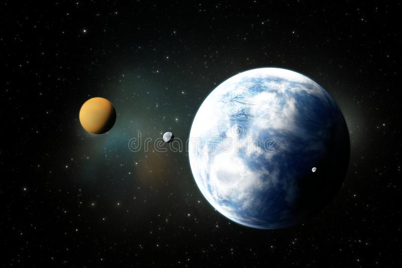 Rocky planets, Exoplanets or Extrasolar planets from deep outer space stock illustration