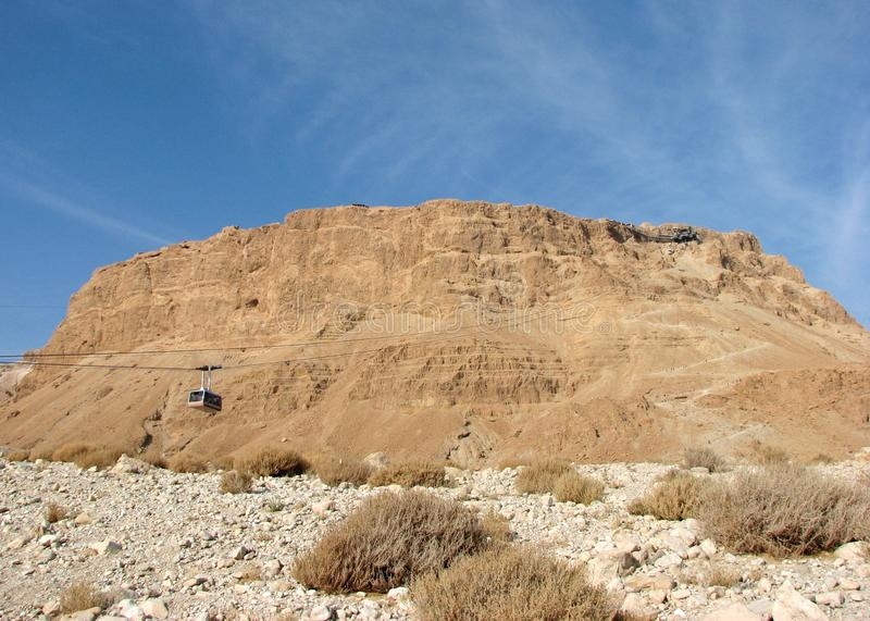 Rocky plateau in Judean Desert called Masada, Israel. A rocky plateau in the Judean Desert called Masada where Roman troops beseiged 960 Jews in 73AD royalty free stock photography
