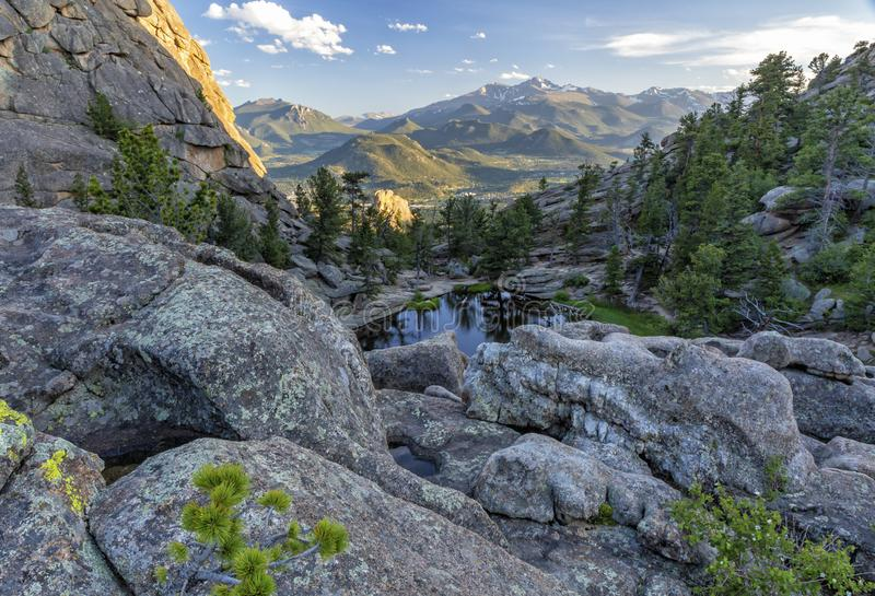 Rocky Pools above Gem Lake. Rock formations and pools above Gem Lake in Rocky Mountain National Park, Estes Park, Colorado royalty free stock photo