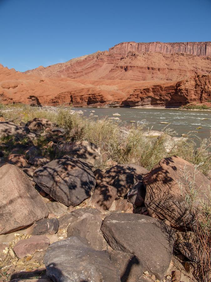 Rocky Rapids on the Colorado River. A popular rafting and kayaking area near Moab, Utah, this section of the Colorado River known as Rocky Rapids provides stock image