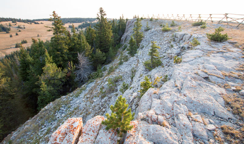 Rocky ridge in early morning light above Lost Water Canyon in the Pryor Mountains Wild Horse Range in Wyoming. USA royalty free stock photo