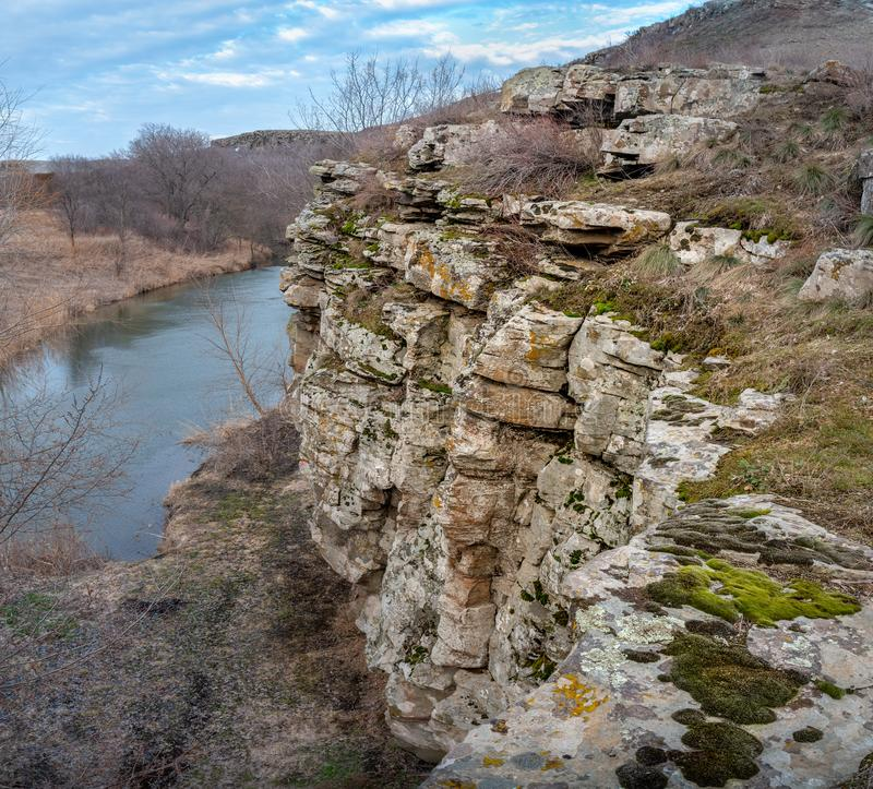Rocky ridge with a river in the steppes. Of the Rostov region Russia royalty free stock photos