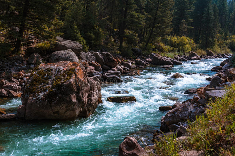 Rocky River of Fresh Flowing Water. Fresh Flowing Mountain Water. Giant Boulder. River Landscape with Copy Space stock photos