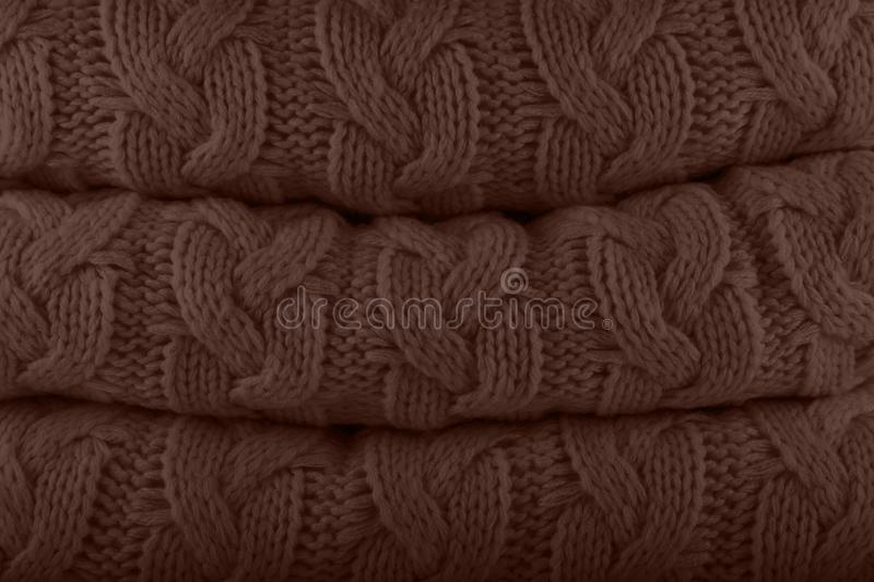 Rocky Road. Pantone fashion colors autumn-winter 2019-2020 knits pile. Warm cozy home and fashion colors concept royalty free stock photo