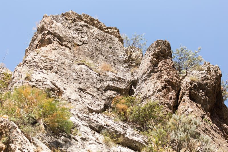 Rocky rock as background. In the park in nature royalty free stock photography