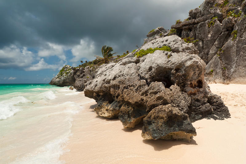 Download Rocky Scenery Of Tulum Beach Stock Photo - Image of beach, holiday: 21435742