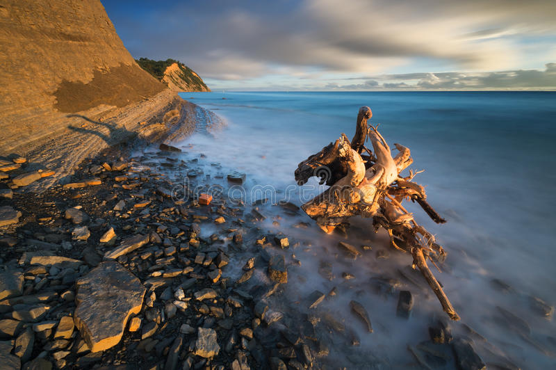 Rocky sea coast, in the light of the rising sun stock photography