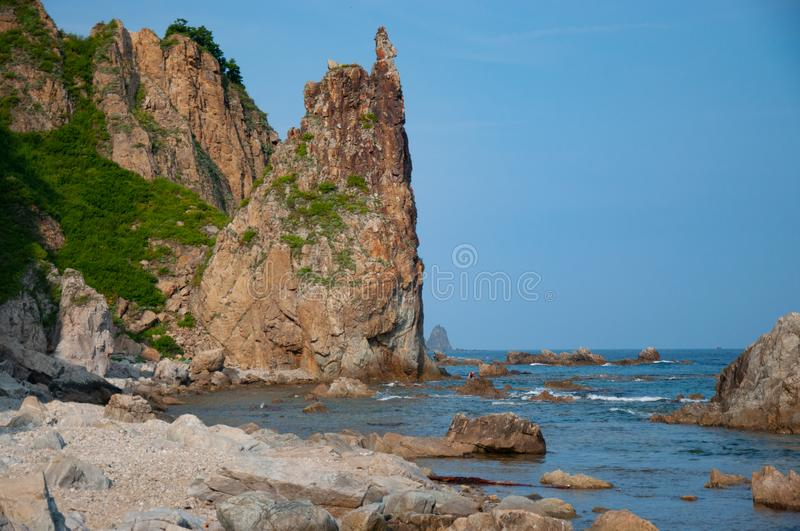 Rocky sea coast of the Russian Far East. royalty free stock images