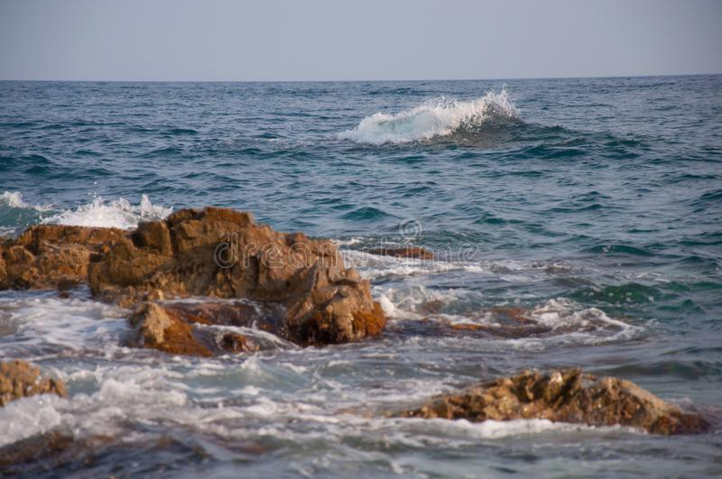 Rocky sea coast of the Russian Far East. stock photography
