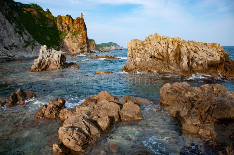 Rocky sea coast of the Russian Far East. royalty free stock image
