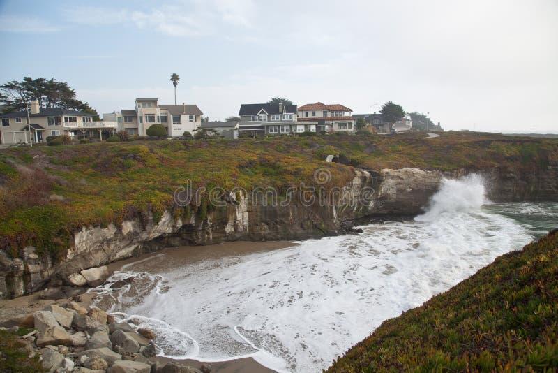 Rocky Sea shore in Santa Cruz, California stock image