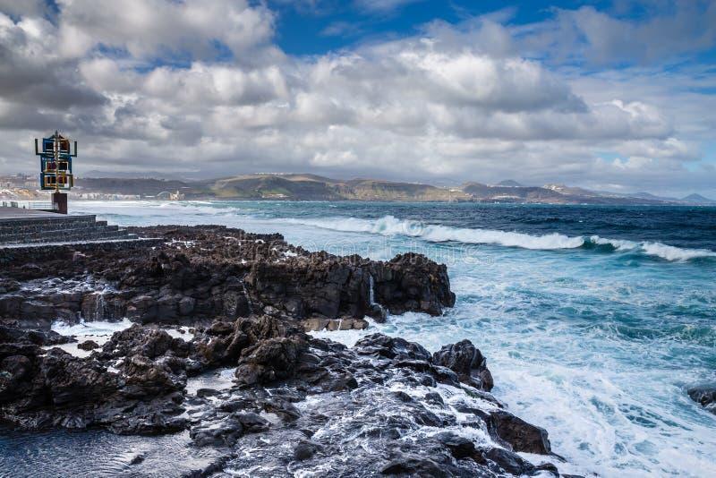 Rocky Seashore - Las Palmas, Gran Canaria, Spanien stockbilder