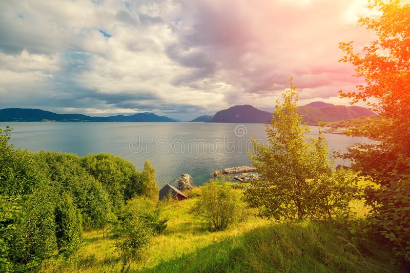 Aerial view of sea from mount Aksla. Rocky seashore. Wilderness Norway. Aerial view of sea from mount Aksla stock photo