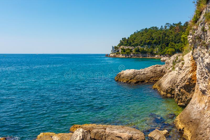 Rocky seaside of Adriatic sea. A beautiful seaside with yellow rocks and green trees stock photo