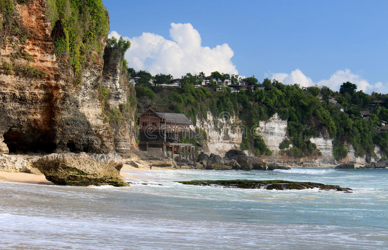 Rocky shore. Dreamland beach. Bali island. Dreamland Beach (now known as New Kuta Beach) is a beach located on the Bukit peninsula, on the island of Bali stock photos