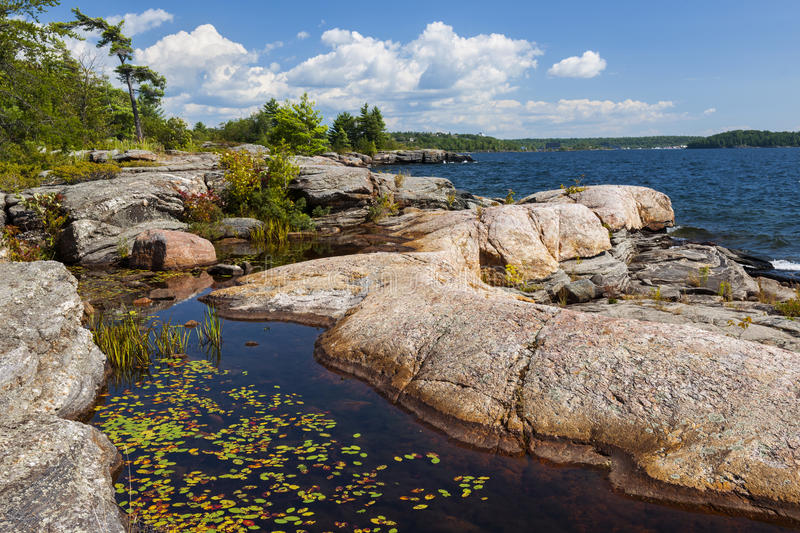 Rocky shore in Georgian Bay royalty free stock images