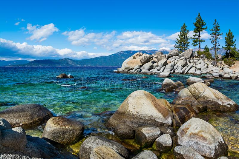 Rocky shore at Lake Tahoe royalty free stock photography
