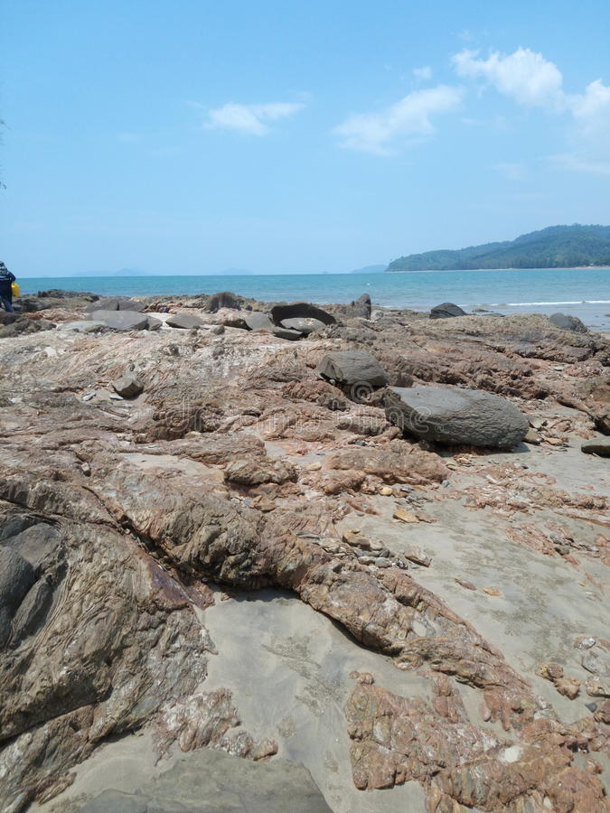 Rocky shore in Thailand stock image