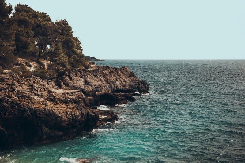 Rocky shoreline in croatia near Pula. Rocky shoreline in croatia near Verudela, Pula royalty free stock images