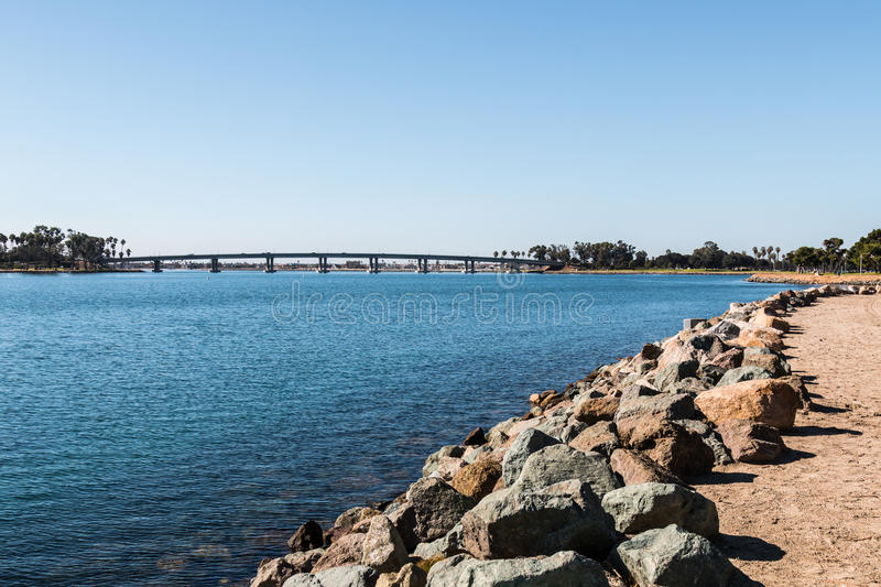 Rocky Shoreline on Mission Bay in San Diego. California royalty free stock images