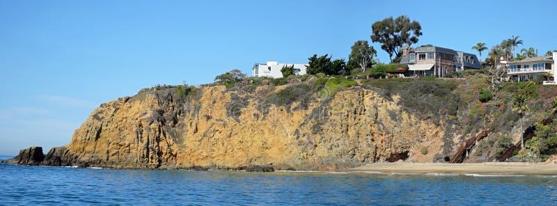 Rocky shoreline near Crescent Bay, Laguna Beach, California. Panorama image shows the spectacular rocky shoreline at the north end of Crescent Bay in North stock photography