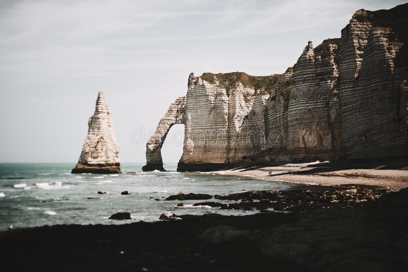 Rocky shores of the Etretat stock photography