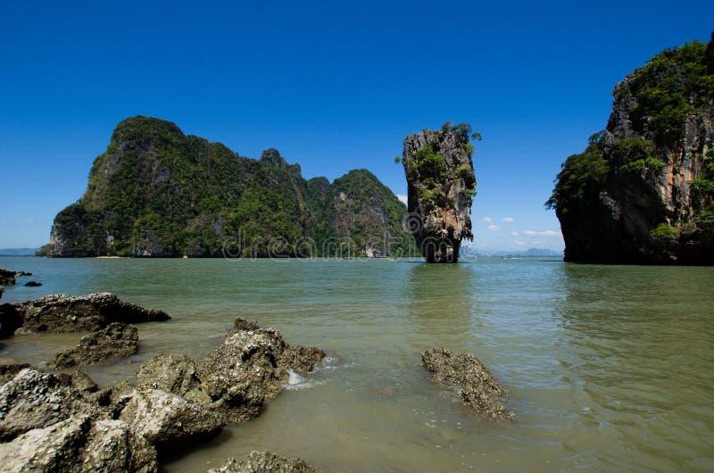 Rocky shores of James Bond Island, Thailand royalty free stock photography