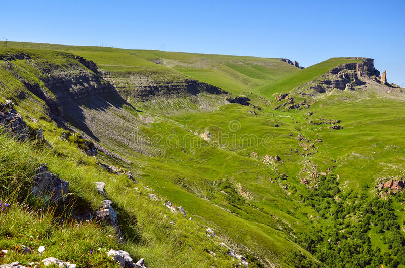 The rocky side of the plateau. The rocky side of the Caucasus plateau stock photography