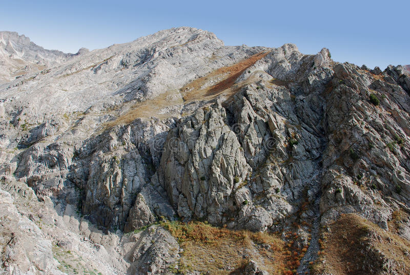 Rocky slope in the Tien-Shan stock photography