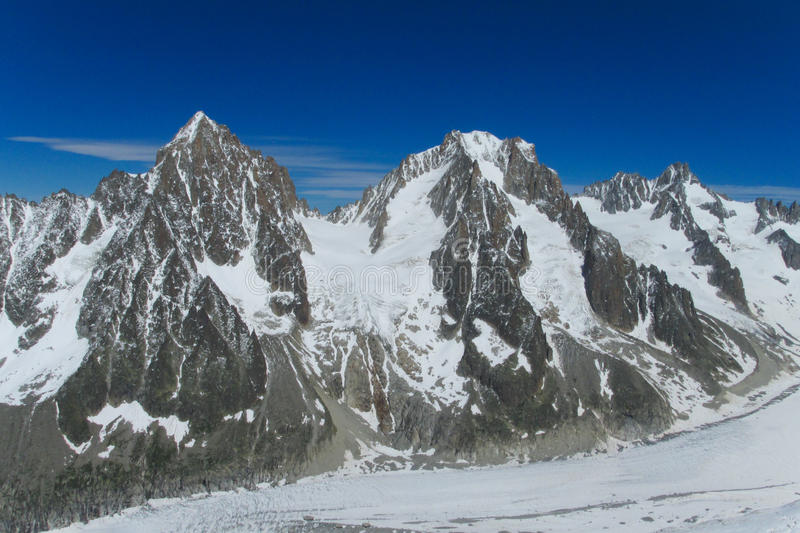 Rocky snow mountain ridge in Alps. Chamonix stock photos