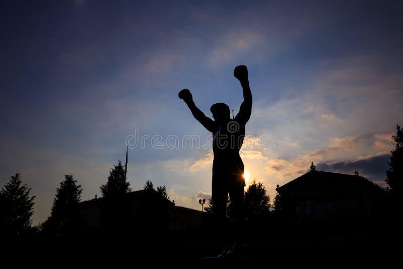 Rocky Statue in Filadelfia immagini stock
