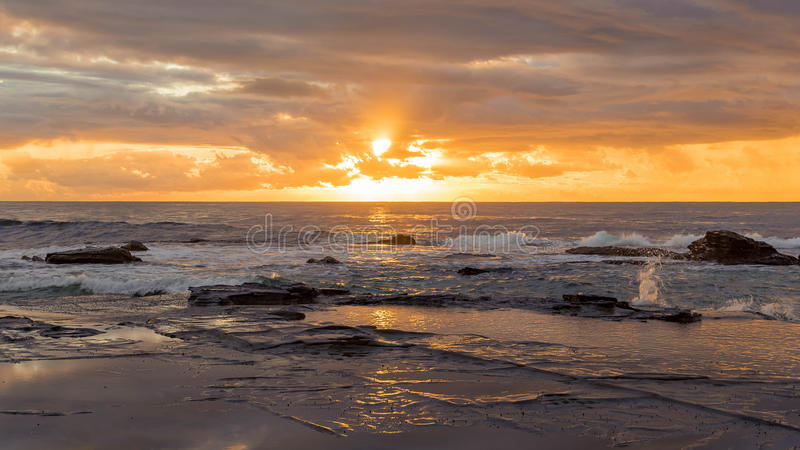 Download Rocky Sunrise Seascape stock image. Image of light, scenic - 90981727