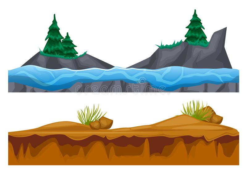 Rocky surface of land with vegetation, water, ground with sand. stock illustration