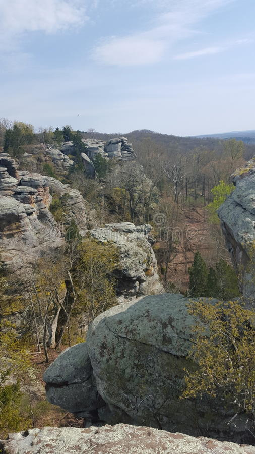 Rocky terrain. Falls greentree rocks stock images