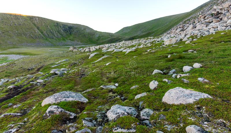 Rocky terrain and vegetation on the island of Mageroya, Norway. Rocky terrain and vegetation on the Mageroya island, Norway stock image