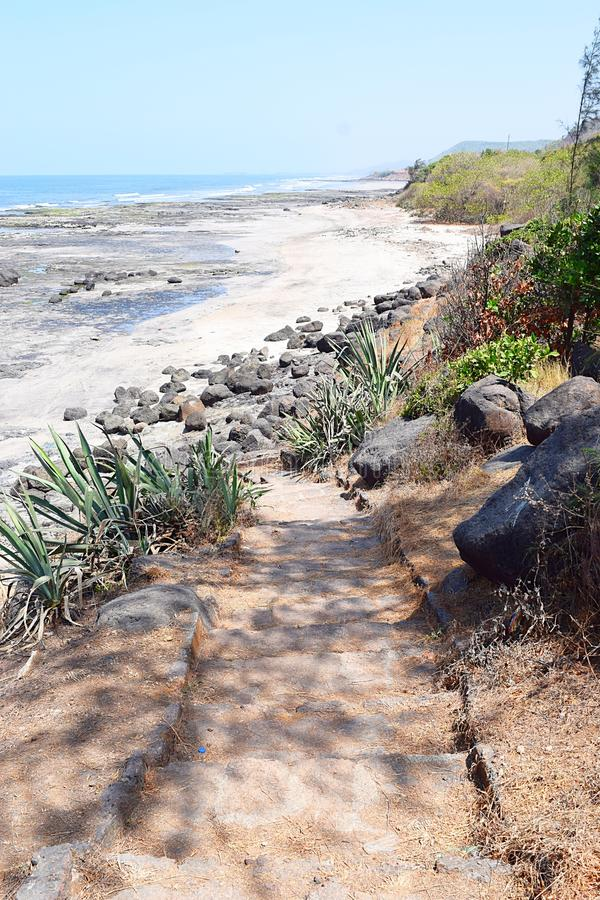 A Rocky Trail through Natural Surroundings. This is a photograph of a rocky path through natural surroundings... The path is narrow and difficult royalty free stock images