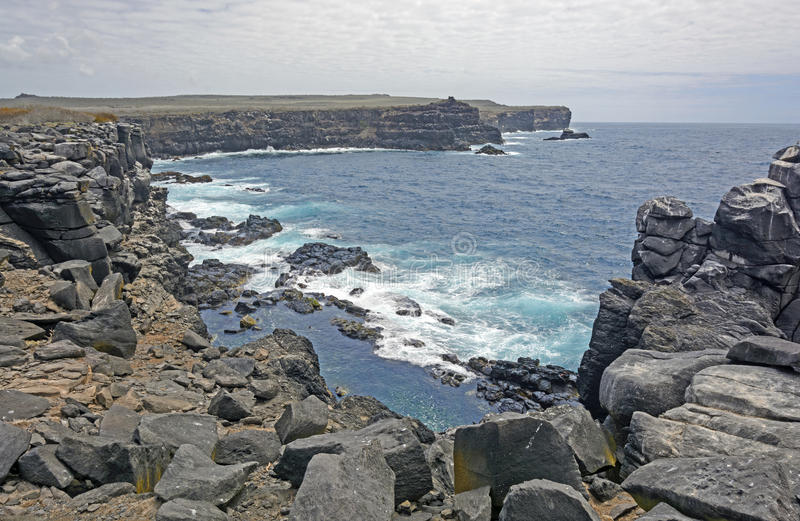 Rocky Volcanic Island Coast. On Espanola Island in the Galapagos stock photography