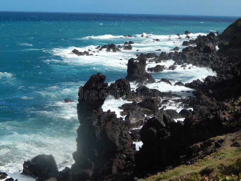 Rocky Volcanic Shoreline on St Kitts stock images