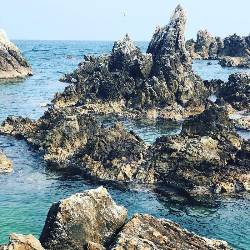 Rocky Waters. Beautiful rocky landscape in the waters of S Korea stock photography